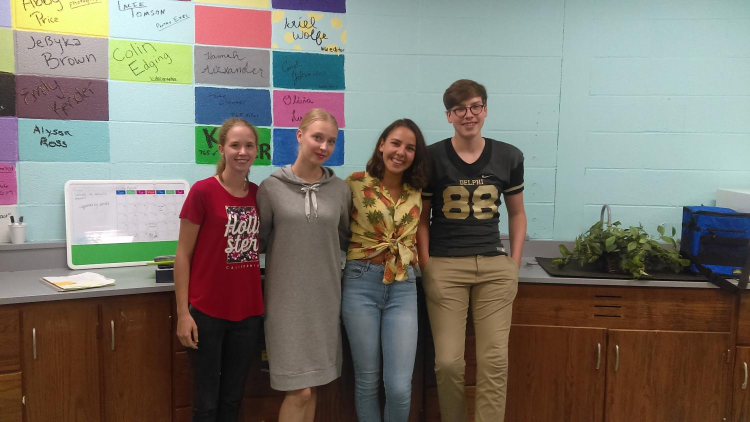 DCHS welcomes this year's foreign exchange students. From left: Brigitta Baranyai (Hungary), Elli Hyvaerinen (Finland), Manon Lhommel (Switzerland), and Joe Lammers (Germany).