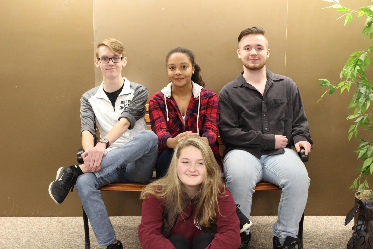 2017 Halloween writing contest winners are sophomores Nick Roberson, Anoria Webb, Gavin Stevens, and Ensley Circle