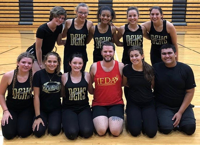 Delphi dance team preparing for competition