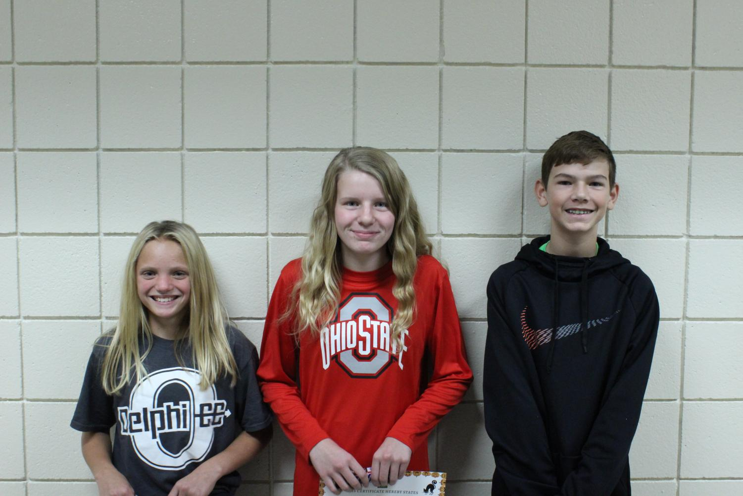 From left: 6th grader Ella Resler, 8th grader Jaden McGuire, and 7th grader Brasen Starbuck