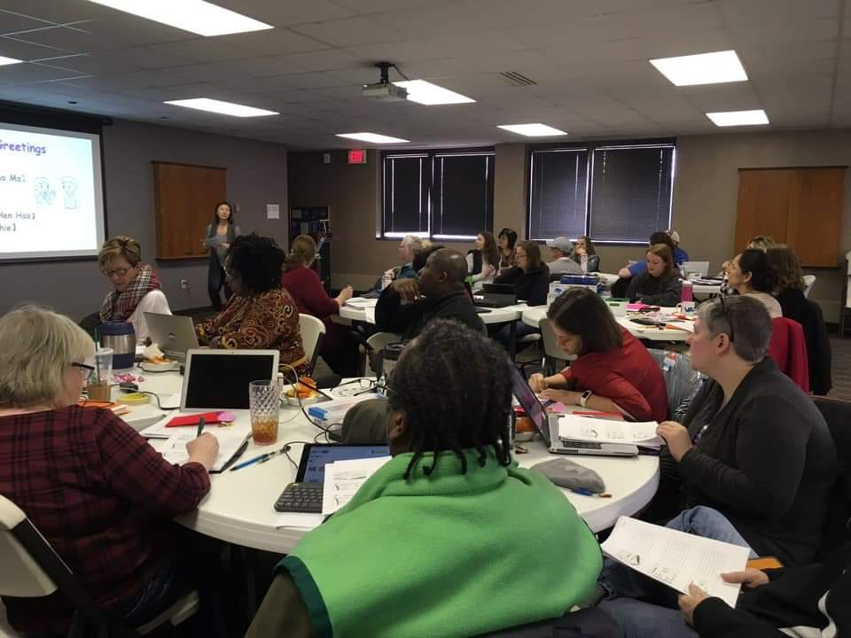 Teachers from around the state of Indiana gather for a meeting preparing for their trip to China. This summer, 26 Hoosier teachers plan to teach STEM to Chinese students and professional development to Chinese teachers.
