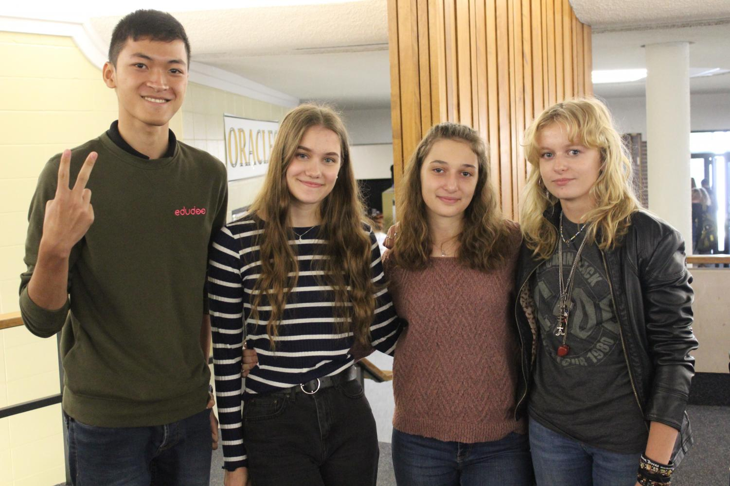 This year's exchange students pose for a photo. From left: Pat Ruanglapanan (Thailand), Vega Kangasmaki (Finland), Sarah Kase (Germany), Miles Benarczyk (Poland)