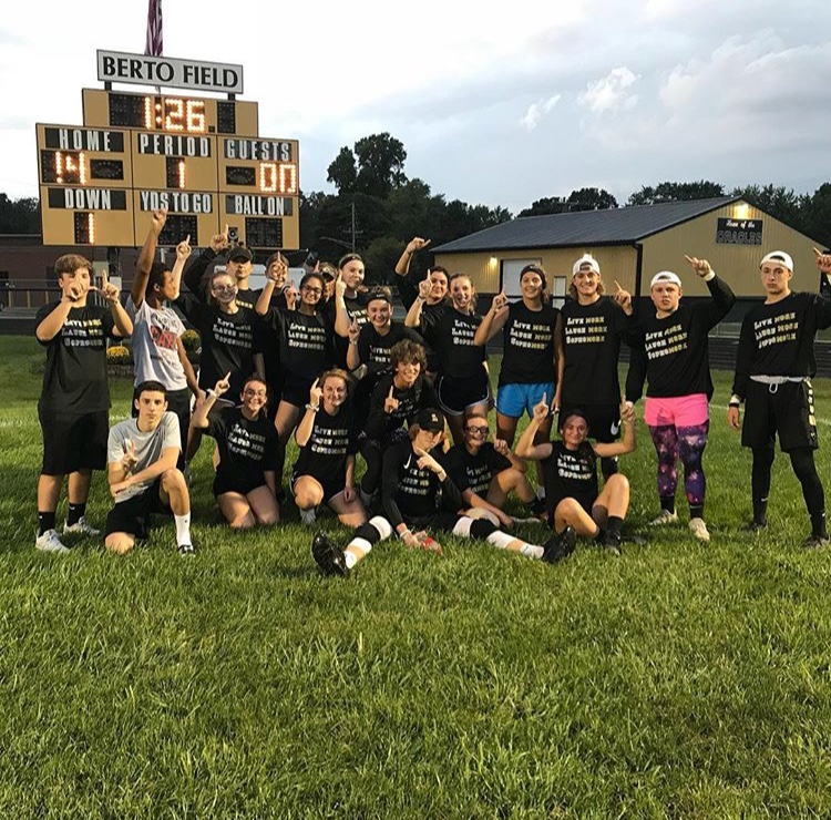 Last+year%27s++sophomores+celebrating+after+they+win+the+powder-puff+football+game.+Picture+taken+by+Angel+Prince.