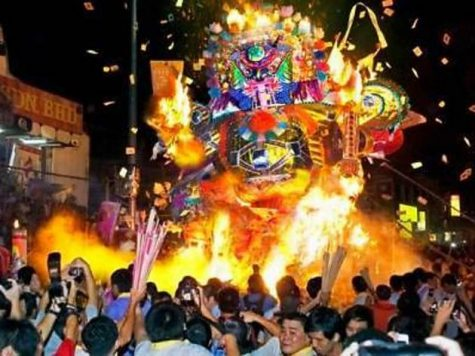 In Hong Kong, the Hungry Ghost Festival is celebrated by collecting and burning food for ghosts to eat.