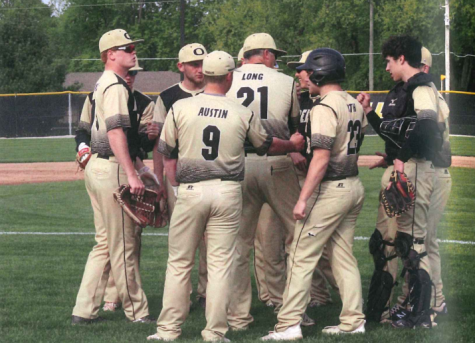 The 2019 DCHS baseball team gathers for a team huddle. Last year, the team won sectionals and hopes to achieve even more success with the addition of middle school feeder programs run by Varsity Coach Long.