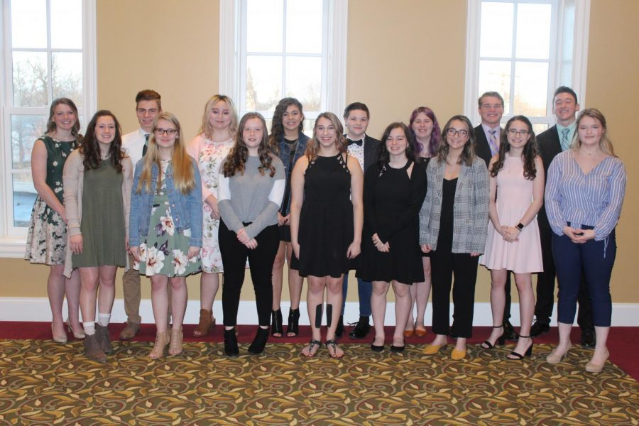 DCHS This I Believe contest finalists pose for a picture at the Delphi Opera House. The event allowed students to share their voices and views.