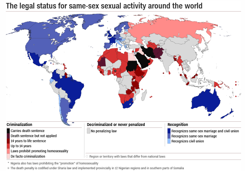 Click on the image above for a better view of a chart depicting the legal status of same-sex sexual activity across the globe.