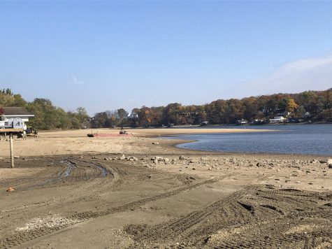 A ten foot drop in water has caused large expanses of the lake bed to visible.