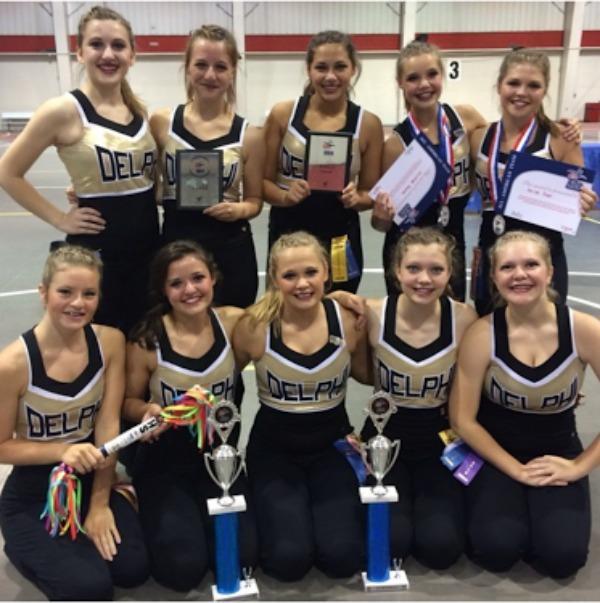 Delphi Dance team after awards at camp.