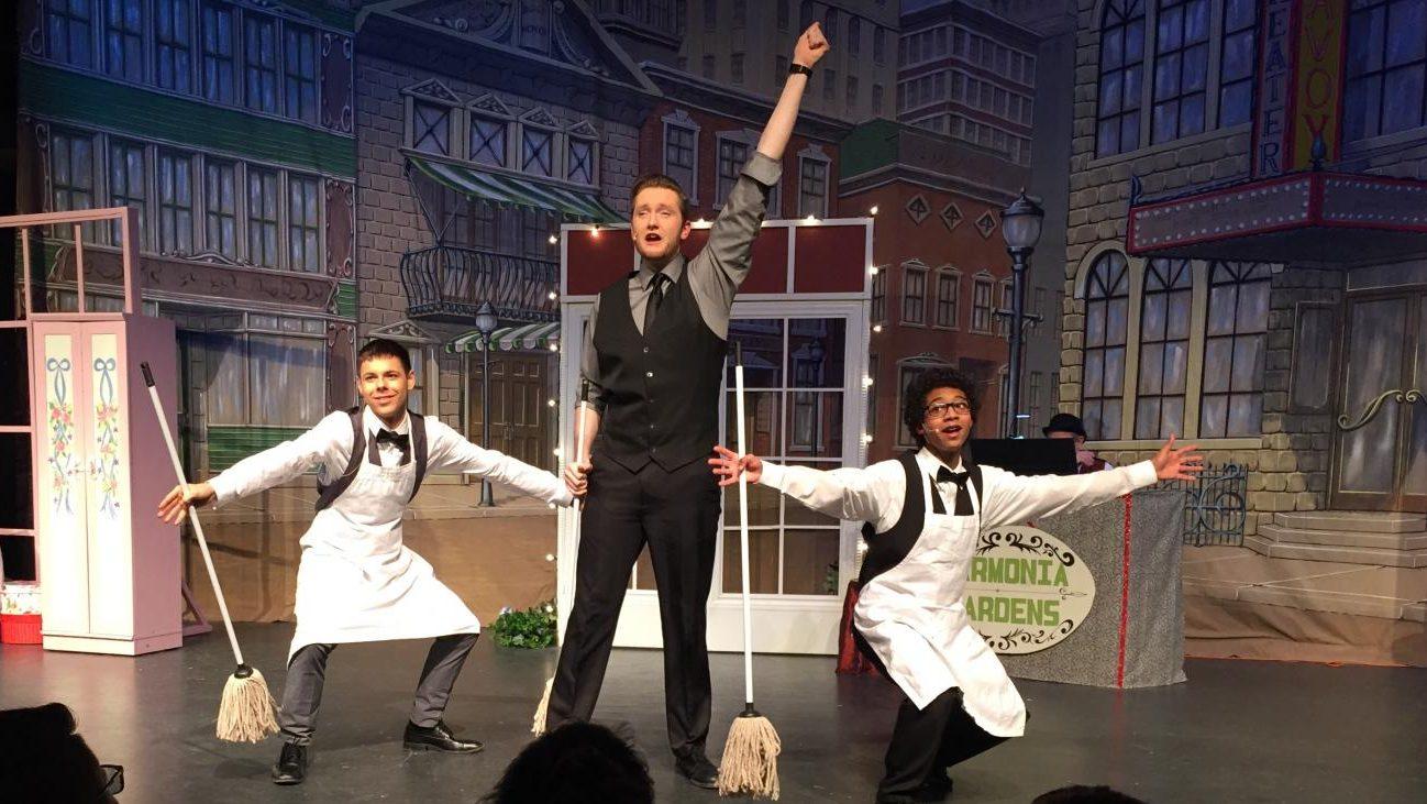 Aden Sinks (far right) plays Barnaby Tucker in Hello Dolly.