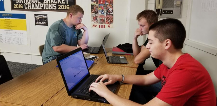 Seniors Keaton Barr, Joey Snider, and Corey Mills are hard at work on their stock market project.