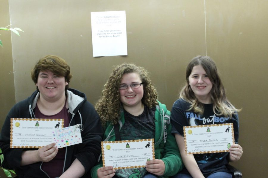 From left: senior Faythe Douglas, freshman Grace ONeil, and sophomore Tyler Folmar