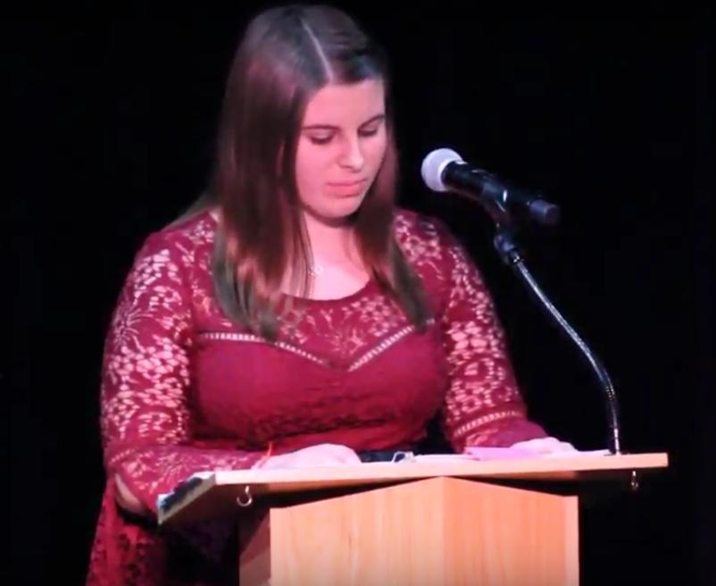 Katie Kleckner presents her This I Believe speech at the 2018 event.