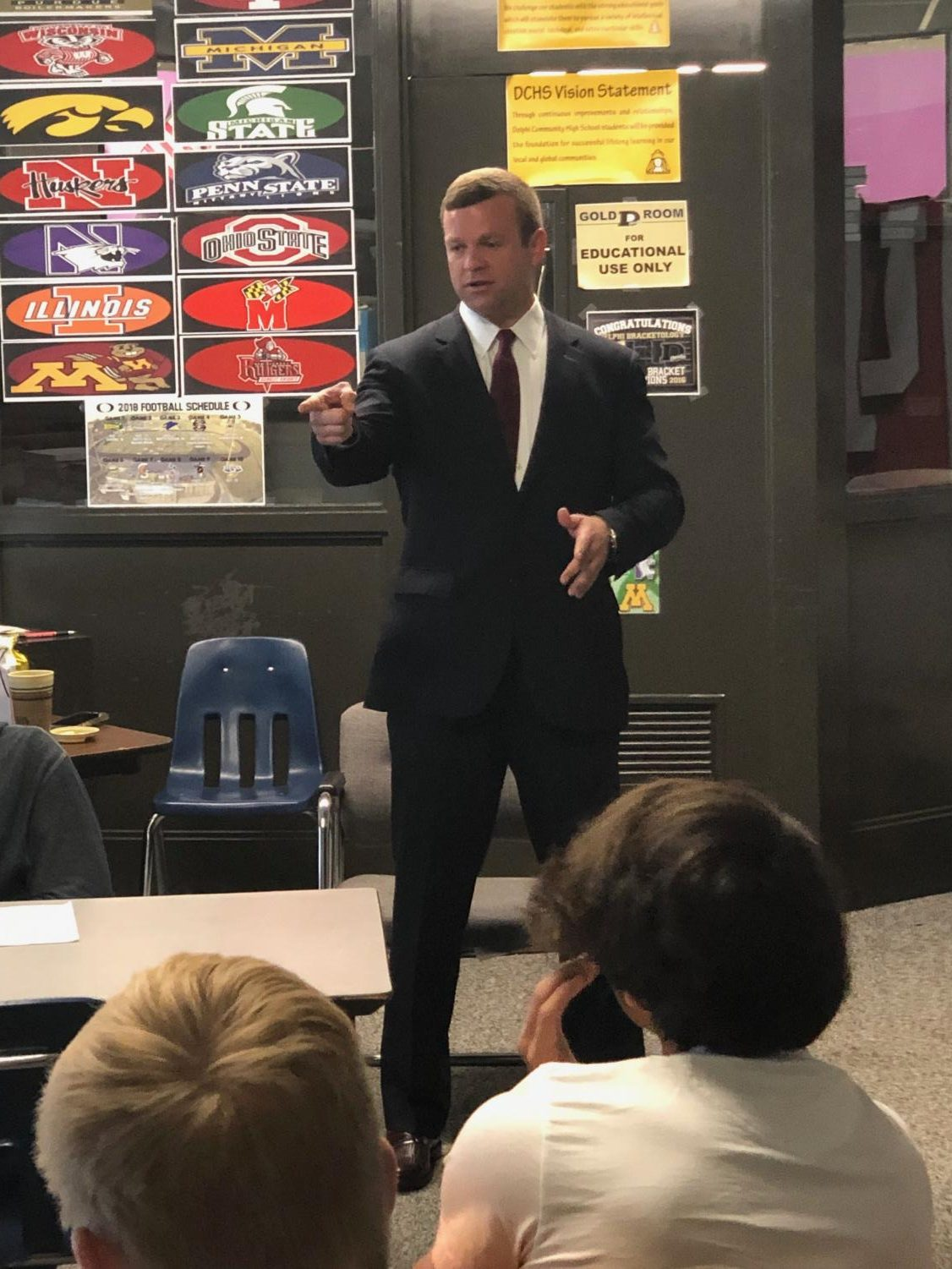 DCHS graduate Tyler Mose, CEO of Indirap Productions, a video production company, was one of 35 professionals presenting at Delphi Community High School's Career Day.