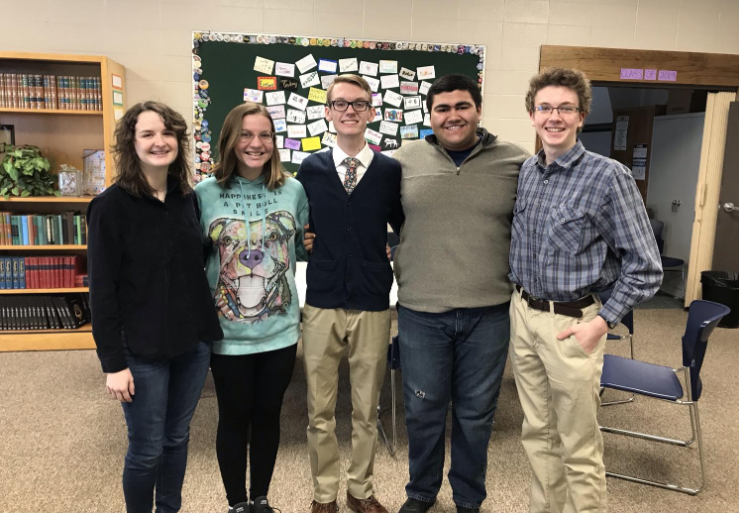 The NHS officers stand for a picture: (from left) Katie Stanley, Elizabeth Walker, Nick Roberson, Angel Prince, and Jordan Ladd