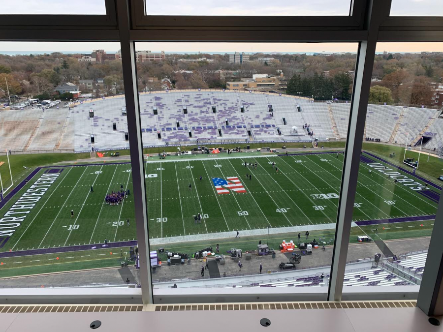 The Northwestern press box overlooks the field and also shows the Chicago skyline in the distance.