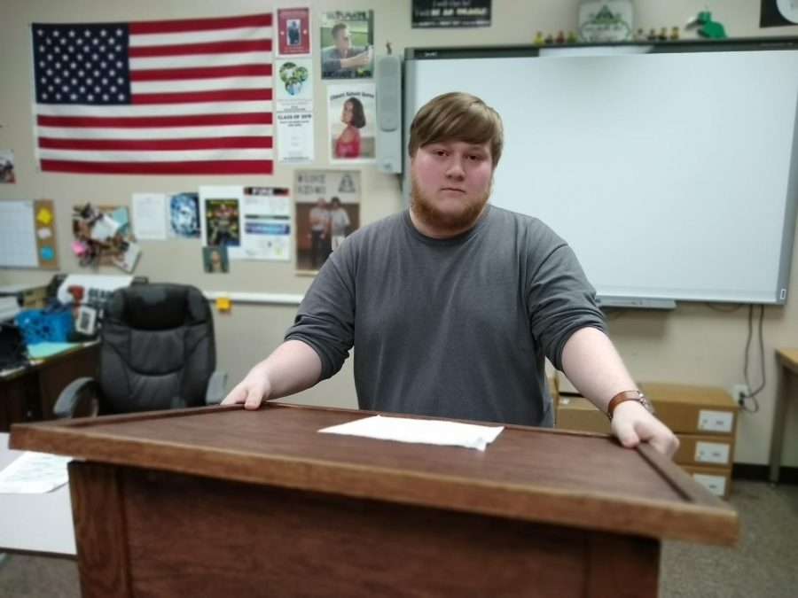 Senior Trevor Nethercutt prepares to deliver a speech. This years speech class will be the first to perform stand-up comedy in Mr. Mroczkiewiczs time teaching the class.