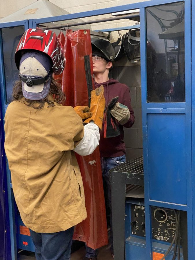 Alex Smith and Matthew Sense are two DCHS students learning the skill of welding.